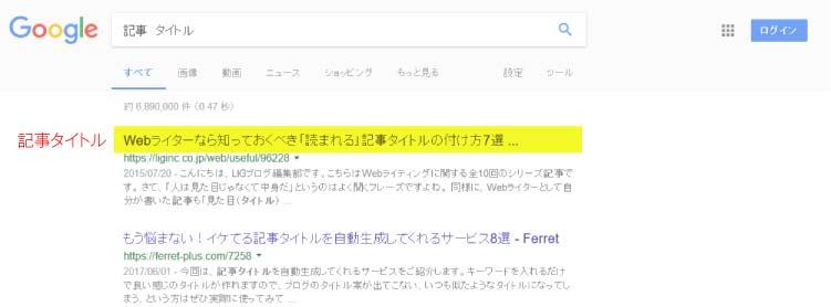ワードプレス記事タイトル設定後グーグル検索画面での表示例